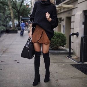 Dresses & Skirts - vegan suede scalloped skirt brown 811230